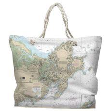 MA: Cape Ann, MA Water-Repellent Nautical Chart Tote Bag