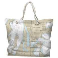 MI: Traverse City, MI Water-Repellent Nautical Chart Tote Bag