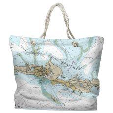 FL: Tavernier, FL Water-Repellent Nautical Chart Tote Bag