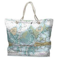 FL: Indian Key, Lignumvitae Key, FL Water-Repellent Nautical Chart Tote Bag