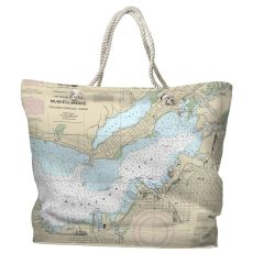 MI: Muskegon, MI Water-Repellent Nautical Chart Tote Bag