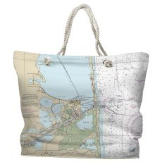 TX: Port Isabel, South Padre Island, TX Water-Repellent Nautical Chart Tote Bag