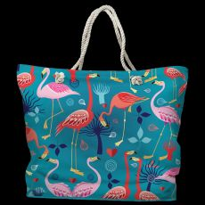 Flamingo Love Tote Bag with Nautical Rope Handles