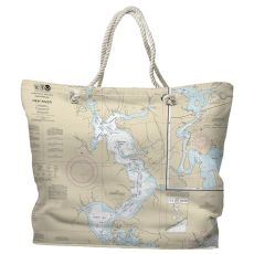 NC: Jacksonville, New River, NC Water-Repellent Nautical Chart Tote Bag