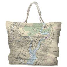 NJ: Newark, Jersey City, NJ Water-Repellent Nautical Chart Tote Bag