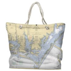 NC: Beaufort Inlet, Core Sound, NC Water-Repellent Nautical Chart Tote Bag