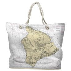 HI: Island of Hawaii Water-Repellent Nautical Chart Tote Bag