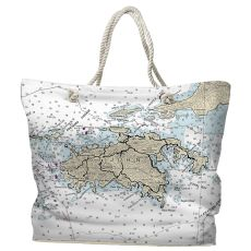 USVI: St. John, USVI Water-Repellent Nautical Chart Tote Bag