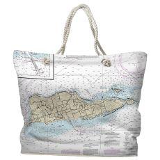 USVI: St. Croix, USVI Water-Repellent Nautical Chart Tote Bag