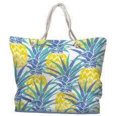 Pineapple Isle Tote Bag with Nautical Rope Handles