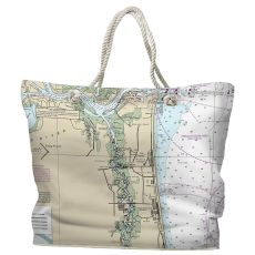 FL: Atlantic Beach, FL Water-Repellent Nautical Chart Water-Repellent Nautical Chart Tote Bag