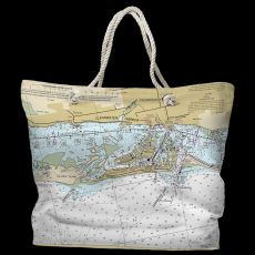 FL: Clearwater Beach, FL Water-Repellent Nautical Chart Tote Bag