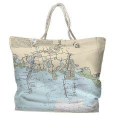 FL: New Port Richey, FL Water-Repellent Nautical Chart Tote Bag