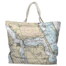 FL: Stuart, FL Water-Repellent Nautical Chart Tote Bag