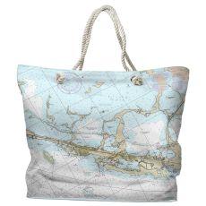 FL: Key Largo, FL (close up) Water-Repellent Nautical Chart Tote Bag