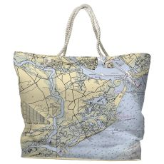SC: James Island, Folly Island, SC Water-Repellent Nautical Chart Tote Bag