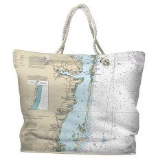 NJ: Barnegat Bay, Toms River to Barnegat Inlet, NJ Water-Repellent Nautical Chart Tote Bag