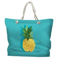 Summer Pineapple Tote Bag with Nautical Rope Handles