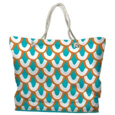 Mermaid Scales Tote Bag with Nautical Rope Handles