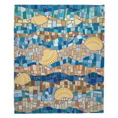 Shell Mosaic Fleece Throw Blanket