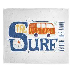 Vintage Surf Van Fleece Throw Blanket