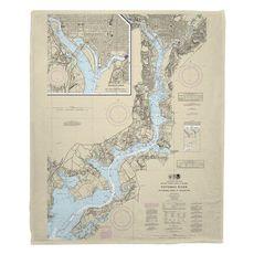 Potomac River; Mattawoman Creek, MD to Georgetown, DC Nautical Chart Fleece Throw Blanket