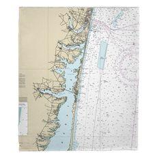 Toms River, Island Beach, Manasquan, NJ Nautical Chart Fleece Throw Blanket