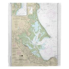 Harbors of Plymouth, Kingston and Duxbury, MA Nautical Chart Fleece Throw Blanket