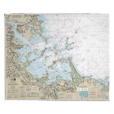 Boston Harbor, MA Nautical Chart Fleece Throw Blanket
