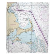 Cape Cod, Martha's Vineyard, Nantucket, MA Nautical Chart Fleece Throw Blanket