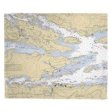 Alexandria Bay, Wellesley Island, Hill Island, NY Nautical Chart Fleece Throw Blanket