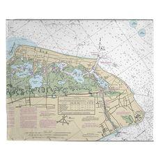 Wildwood, Cape May, NJ Nautical Chart Fleece Throw Blanket