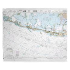 Upper Matecumbe, Islamorada, Key Largo, FL Nautical Chart Fleece Throw Blanket