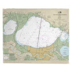 Lakes Pontchartrain and Maurepas, LA Nautical Chart Fleece Throw Blanket