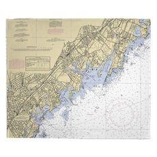 New Rochelle, Larchmont, Mamaroneck, NY Nautical Chart Fleece Throw Blanket