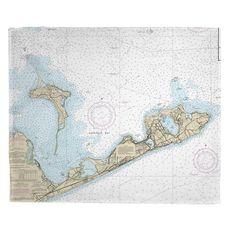 Gardiners Island, Montauk, NY Nautical Chart Fleece Throw Blanket