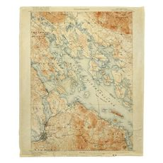 Lake Winnipesaukee, NH, C. 1907 Vintage Topo Map Fleece Throw Blanket