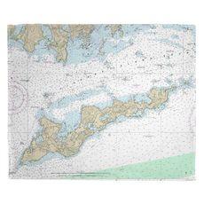 Fishers Island, NY Nautical Chart Fleece Throw Blanket