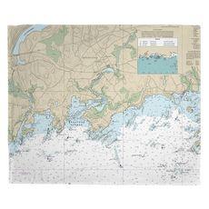 Branford, CT Nautical ChartFleece Throw Blanket