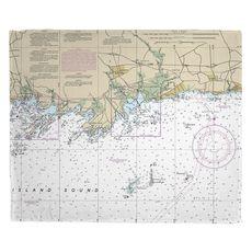 Guilford, Madison, CT Nautical Chart Fleece Throw Blanket