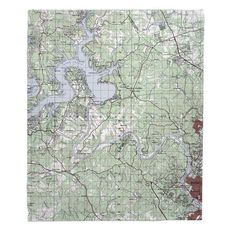 Lake Travis, TX Topo Map Fleece Throw Blanket