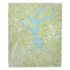 Lake Burton, GA (1957) Topo Map Fleece Throw Blanket