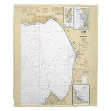 Monterey Bay, CA Nautical Chart Fleece Throw Blanket