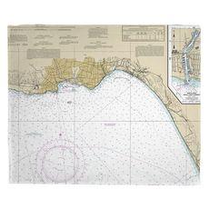 Santa Cruz, Capitola, CA Nautical Chart Fleece Throw Blanket