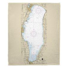 Lake Winnebago, WI Nautical Chart Fleece Throw Blanket