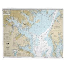 Chesapeake Bay; Approaches to Baltimore Harbor, MD Nautical Chart Fleece Throw Blanket