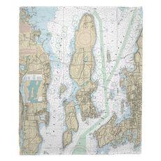 Jamestown, RI Nautical Chart Fleece Throw Blanket