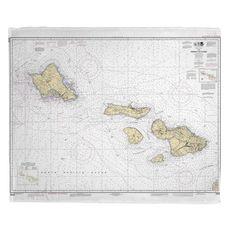 Hawaii to Oahu, HI Nautical Chart Fleece Throw Blanket