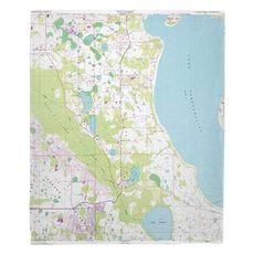 Lake Tohopekaliga, FL (1987) Topo Map Fleece Throw Blanket
