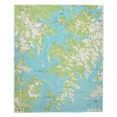 Lake Norman North, NC (1970) Topo Map Fleece Throw Blanket